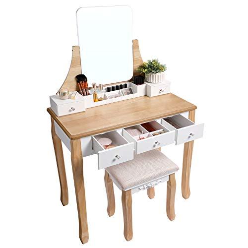 VASAGLE Tocador Moderno, Mesa de Maquillaje con 1 Taburete, Espejo Giratorio 360°, 5 Cajones, Bandeja de Maquillaje Removible, para Habitación, Blanco y Color Natural RDT25K