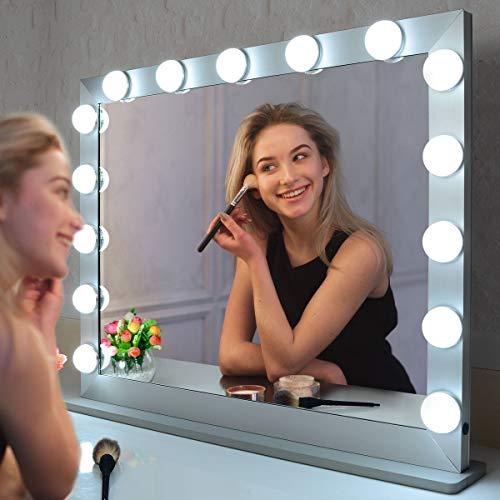 WONSTART - Espejo de maquillaje grande Hollywood con 15 LED iluminado, ajustable al tacto, con 3 ajustes de luces, espejo de escritorio o montaje en pared, espejo de belleza (plata)