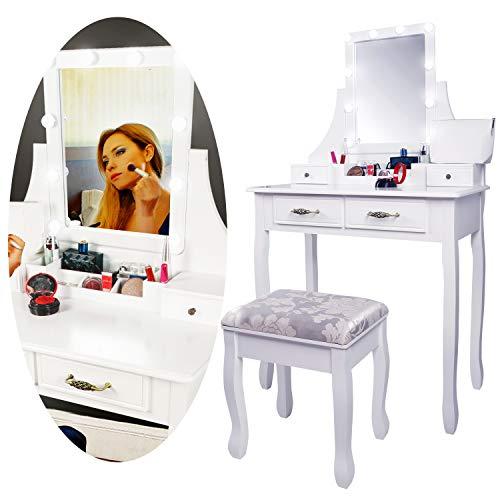 CCLIFE Tocador con Espejo Bombillas para Maquillaje Taburete Acolchado y 4 Cajones Grandes, Color:DSMKT017A0000wes