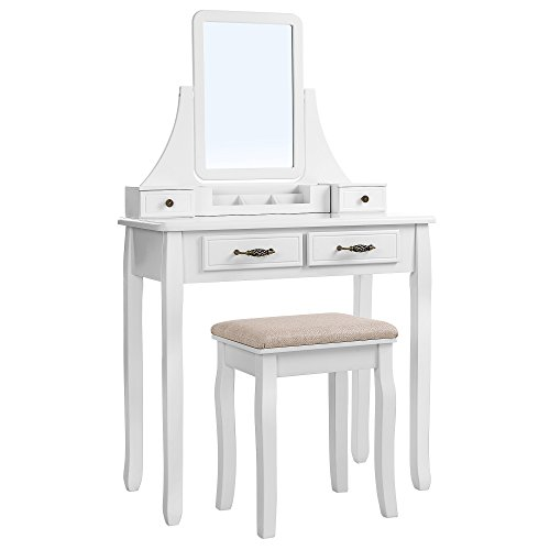 SONGMICS Tocador con Espejo Extraíble, Mesa para Maquillaje, con Taburete, Caja de Almacenamiento y Cajones con Corredera, Blanco RDT012WT