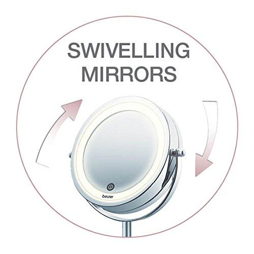 Beurer BS55 - Espejo maquillaje con luz, luz LED brillante (18 LEDs), espejo pivotante, encendido con sensor táctil, 1 cara vista normal, 1 cara visto aumento (x7), acabados cromados