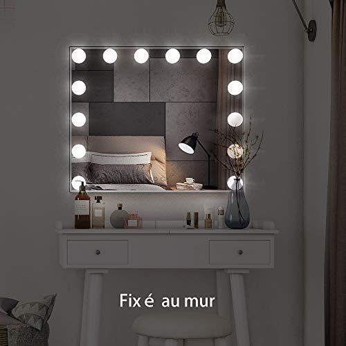 MEETOP - Espejo Iluminado con 14 Bombillas LED, Luces reemplazables, Hollywood, Estilo de Maquillaje, Espejos cosméticos con Control táctil, o Mesa de Pared, Color Plateado
