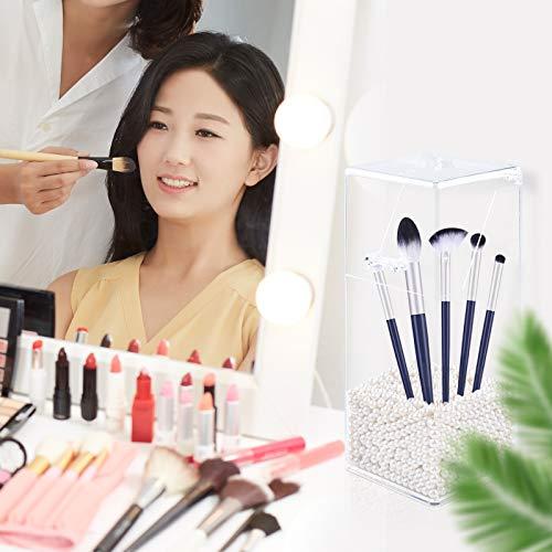 GLAITC - Organizador de Maquillaje para brochas acrílico, con un Paquete de Perlas cuadradas, Caja de Almacenamiento de brochas de Maquillaje con Tapa para baño, Dormitorio, Perla Blanca
