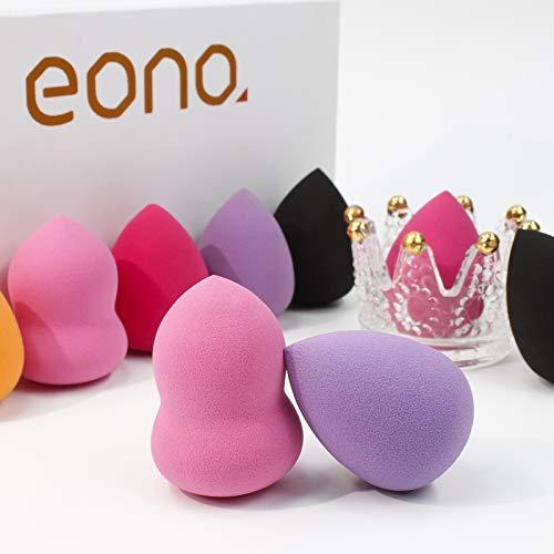 Amazon Brand – Eono 10 Piezas Set de Esponjas de Maquillaje, Profesional para la Base, Multicolor sin Látex, Uso Húmedo y Seco