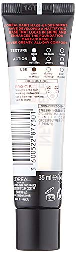 L'Oréal Paris Make-Up Designer Infallible OAP Infaillible Mattifying Primer Base - 01 Transparant - Primer prebase de maquillaje - Prebases de maquillaje (Mate, Tubo, #eaeaea, 25 mm, 38 mm, 130 mm)
