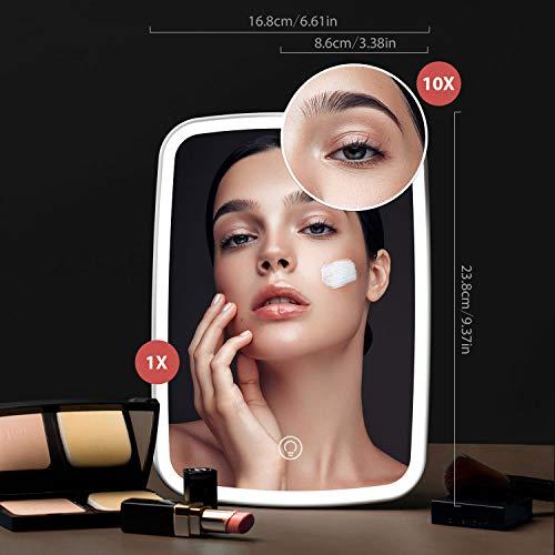 Jordan & Judy - Espejo cosmético con luz y 3 colores de iluminación, espejo de maquillaje con iluminación, recargable, regulable, iluminado, espejo de aumento de 10 aumentos