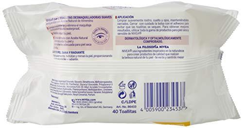NIVEA Toallitas Desmaquilladoras Suaves en pack de 4 (4 x 40 ud), toallitas desmaquillantes para piel seca y sensible, toallitas húmedas para rostro, ojos y cuello