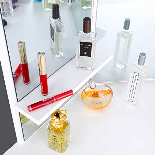 amzdeal Tocador Blanco,Mesa de Maquillaje con Espejo,3 Espejos y 5 Cajones Forma Curva Tocador Moderno Cosmético Mesa de Maquillaje Escritorio sin Taburete para Mujeres
