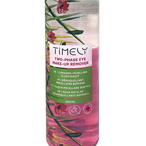 Timely - Desmaquillante de ojos bifásico para maquillaje waterproof, 400 ml