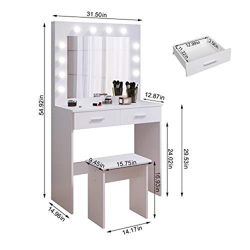 Tocador Mesa de Maquillaje con Hollywood LED Espejo, 2 Cajones Grandes y Taburete, Blanco, 80x40x140cm