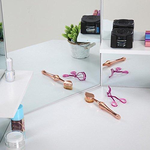 Makika Tocador Maquillaje con Espejo Mesa de Maquillaje 5 Cajones Rústico Mesa Acolchado Estilo Depósito Blanco - ELLE