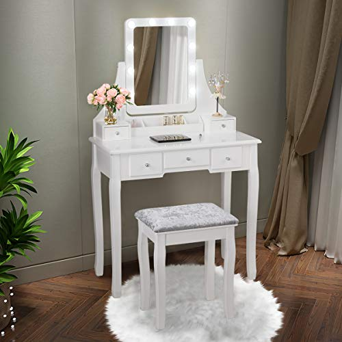 COSTWAY Tocador con Taburete y 5 Cajones Mesa de Maquillaje con Espejo Giratorio de 360 ° y 10 LED Bombillas Mesa de Cosméticos para Dormitorio (Blanco)