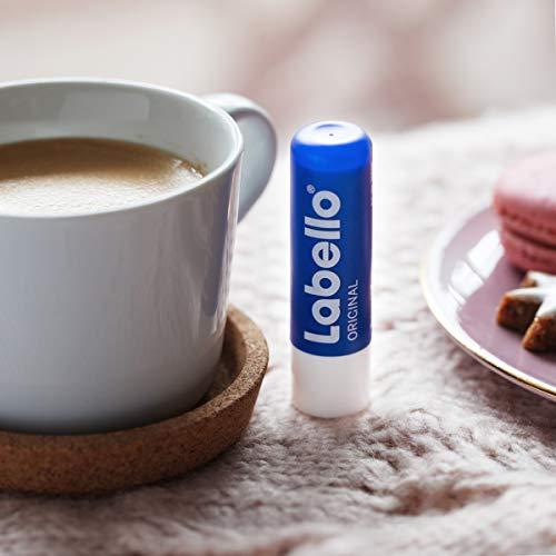 Labello Lápiz labial original en paquete de 6 unidades (6 x 4,8 g), cuidado de labios para unos labios naturalmente hermosos, bálsamo labial sin aceites minerales que protege contra la sequedad.