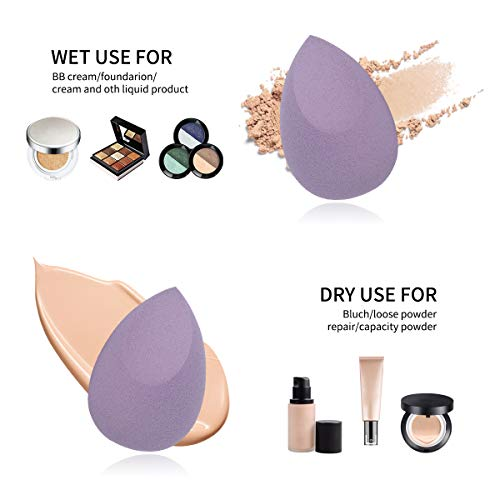 DULEE 4 Pcs Esponja de Maquillaje Makeup Blender Beauty para Base de Maquillaje para Líquida, Crema y Polvo, Puffs en Polvo,Morado