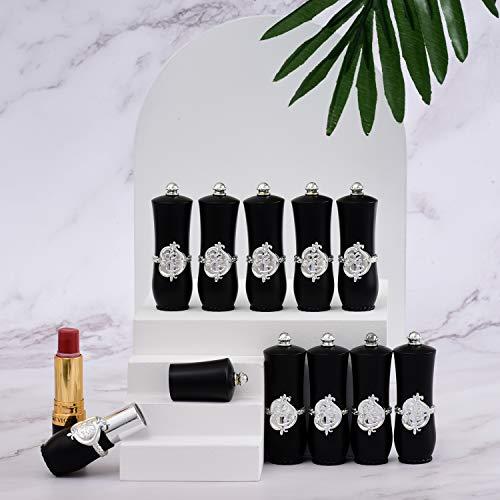 Allwon - 10 tubos negros vacíos para pintalabios, contenedor de bálsamo labial para bricolaje (tubo redondo)