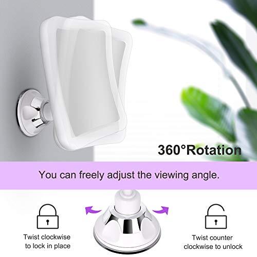 DeWEISN Espejo de Aumento con Luz, Espejo de Maquillaje con Ventosa LED Natural Rotación de 360° Espejo Cosmético Iluminado Aumento 10X Portátil para Viajes y Baño (Cuadrado)