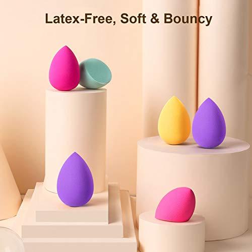 Larbois Esponja de maquillaje, 10 piezas Blender Beauty Foundation Blending Sponge, Set de maquillaje profesional de belleza colorido para uso seco y húmedo