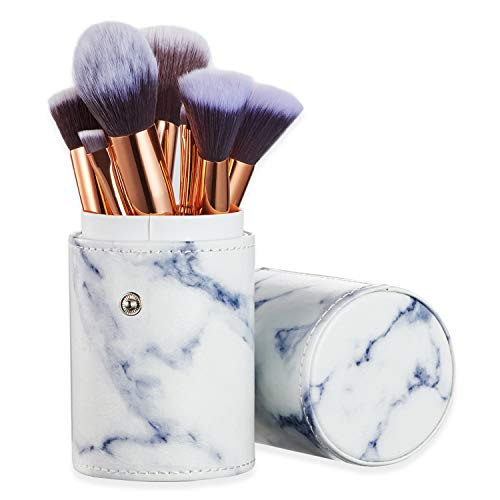 Set de brochas de maquillaje profesional Ruesious 10 piezas Pinceles de maquillaje Set Premium Synthetic Foundation Brush Blending Face Powder Blush Concealers Kit de pinceles
