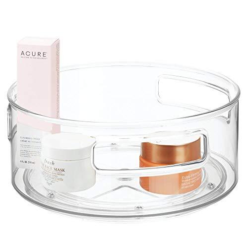 mDesign Juego de 2 Plataformas giratorias para cosméticos – Elegante Organizador de Maquillaje para lociones, cosméticos y medicamentos – Base giratoria Redonda para el baño – Transparente