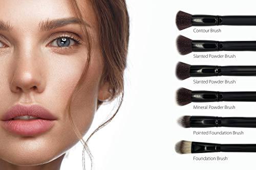 Chali® Set Brochas de Maquillaje 18 Piezas con Estuche, Pinceles de Maquillaje para Base, Sombras de Ojos, Polvos, Correctoras, Cejas, Contorno