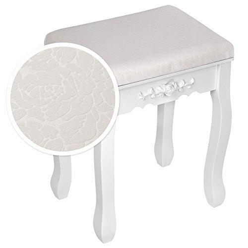 TecTake Mesa de Maquillaje tocador con Taburete | con Espejo y cómoda | 4 cajones | Blanco