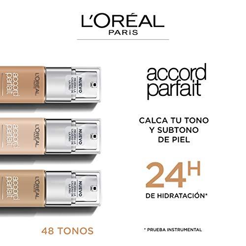 L'Oréal Paris Accord Parfait, Base de maquillaje acabado natural con ácido hialurónico, tono piel claro 2R, 30 ml