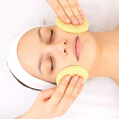 Esponja facial, 12pcs Cara Pulpa De Madera Esponjas Compactas Redonda Belleza Maquillaje Herramienta, Tono De Piel