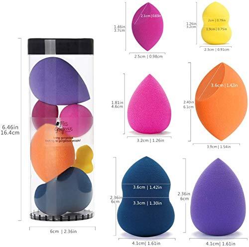 Esponja Maquillaje - Miss Gorgeous Belleza Makeup Blender Beauty sin Látex Colorido 6 Piezas con 3 Tamaños Normal y 3 Tamaños Mini