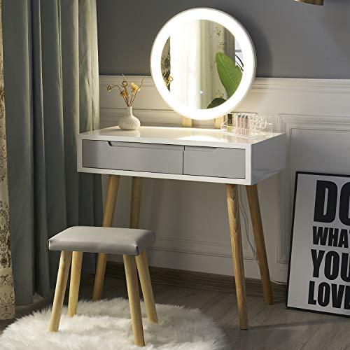 YOURLITE tocador con Espejo de Luces LED, Juego de Mesa de Maquillaje de tocador Blanco con Espejo de Brillo Ajustable, Taburete Acolchado y Organizador de Maquillaje Gratis (Blanco+Gris)