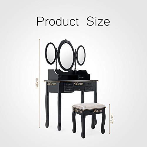 Mecor - Tocador de mesa de maquillaje con taburete, 7 cajones y 3 espejos, ovalado, casa de campo, color negro