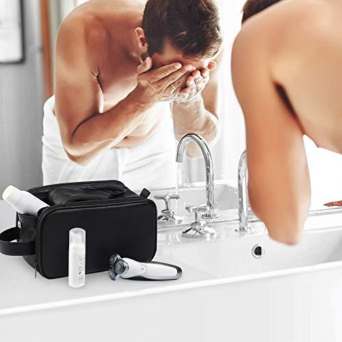 Bolsas de Aseo de Cuero para Hombres Impermeable Neceser de Viaje de Lavado Kit de Afeitado Dopp Grande Organizador de Maquillaje Baño Gimnasio con Bolsa de Almacenamiento Gratis (Negro)