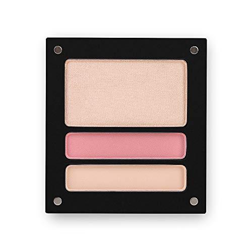 Jolly Dim Makeup - Set de ojos e iluminador Natural: 1 iluminador + 2 sombras de ojos mate. Paleta de maquillaje para rostro y ojos