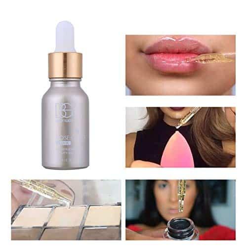 Lucoss Prebase Maquillaje Cuidado de la Cara Base,Aceite de Belleza Elixir de Oro Rosa de 24K Aceite Facial Hidratante Antes de la Base Aceite de Maquillaje
