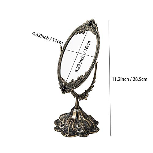 Feyarl Espejo de maquillaje vintage floral de mesa ovalado con soporte para vestidor giratorio de doble cara decorativo de bronce (pequeño)