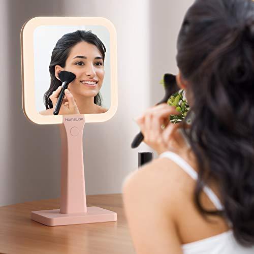 HAMSWAN Espejo de Maquillaje, Espejo de Maquillaje de Doble Cara con Aumentados 5X, 1X, Espejo de Mesa con 3 Modos de Luces Ajustables y Batería de Litio Incorporada, Espejo de Mano con Espejo Doble