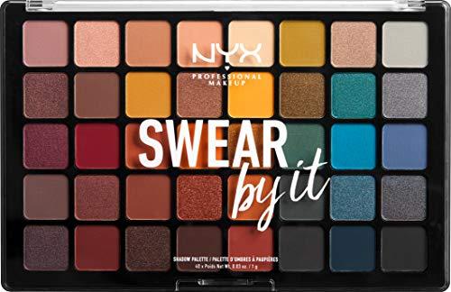NYX Professional Makeup Paleta de sombra de ojos Swear By It Eye Shadow Palette, Tonos fríos y cálidos, Acabado mate, satinado y metalizado, 40 Colores