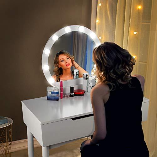 CCLIFE Tocador con Espejo, Bombillas para Maquillaje, Taburete Acolchado y 2 Cajones Grandes Deslizables, Color:DSMKT019A0000wes