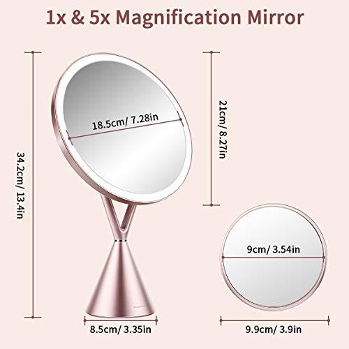 Espejo de Maquillaje, Espejo de Aumento 1x/5x con Luz LED de Pantalla Táctil y Carga USB, con Diseño de Tres Modos de Luz Ajustable - Soporte Ajustable de 45 Grados -Oro Rosa 210 * 90 * 342mm