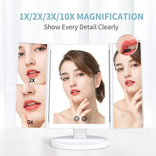 alvorog Espejo Maquillaje con Luz y 3 Modos de Luz, Espejo de Mesa con Aumento 1x/2x/3x/10x, Rotación 180° y Brillo Ajustable, 72 Leds Espejo Coméstico para Cuidado Facial y Afeitado, USB o Baterias