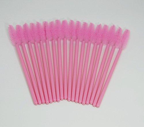 Cepillo de cejas y pestañas para extensión de pestañas postizas, 50 unidades, desechable, color rosa