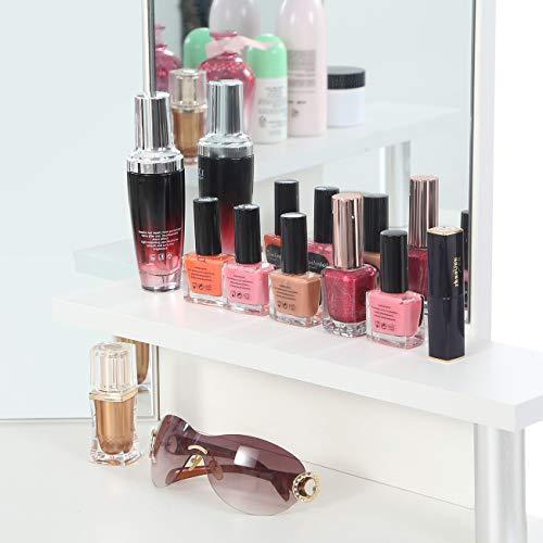 Makika Tocador Maquillaje con Espejo Mesa de Maquillaje 5 Cajones Ajustable Rústico Mesa Acolchado Estilo Depósito Blanco - Tyra