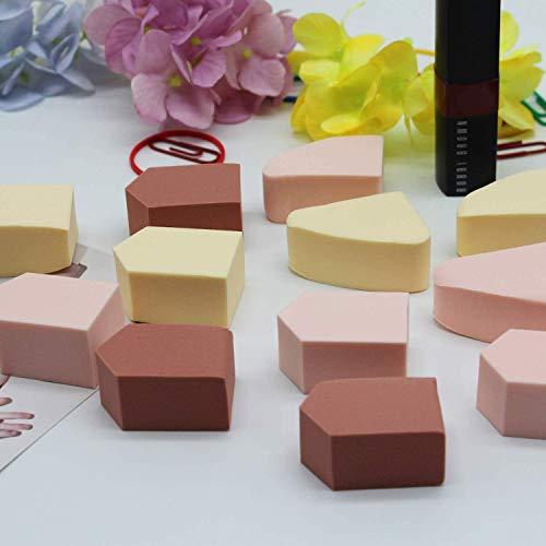 ENERGY Esponjas de maquillaje Esponjas de cuñas para maquillaje de belleza Esponja de mezcla sin defectos Polvo de fijación suelto Esponjas de maquillaje multicolor juego 12pcs Pink Brown