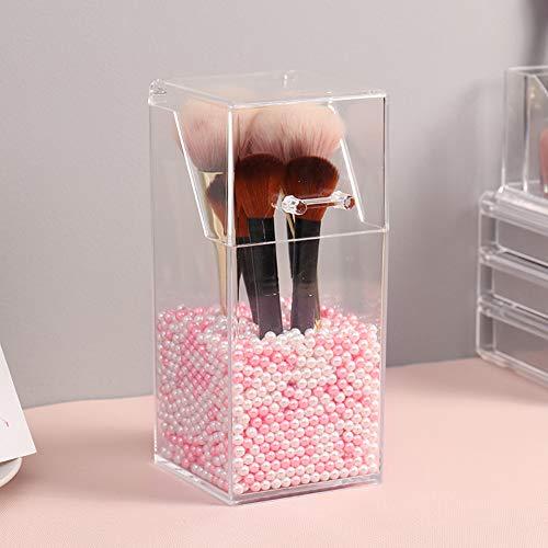 YANROO Organizador de soporte para brochas de maquillaje, organizadores de acrílico y caja de almacenamiento a prueba de polvo, organizador de maquillaje acrílico con tapa, para tocadores y baños