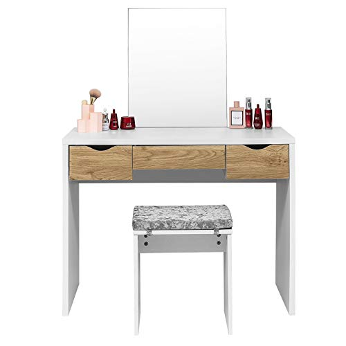EUGAD Juego Mesa de Tocador con Taburete Tocador Moderno Escritorio con Espejo Mesa de Maquillaje con 3 Cajones Madera 100x49,5x129,5cm Blanco+Roble 0010SZT