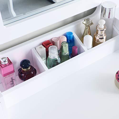 SALBAY Tocador moderno blanco con espejo enmarcado, juego de aparador 1 espejo 5 cajones con taburete de madera de pino, escritorio de maquillaje para dormitorio