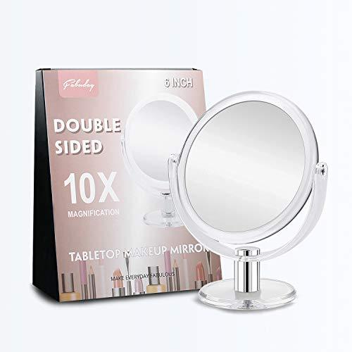 FABUDAY Espejo de maquillaje de doble cara, espejo de aumento 1X 10X, espejo de tocador de mesa, transparente