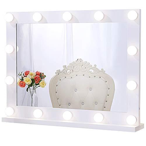 Chende Espejo de Maquillaje Hollywood con Luces para Pared, Espejo de Maquillaje Iluminado con 3 Colores para Mesa de Dormitorio, Espejo LED Profesional Grande para Teatro con 14 Luces Regulables