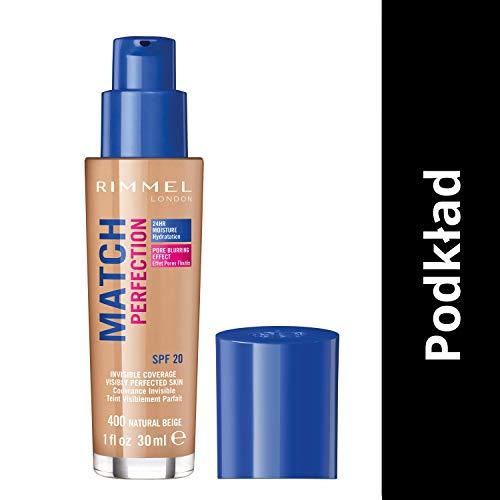 Rimmel London Match Perfection Foundation Base de Maquillaje Tono 400 Natural Beige - 30 ml
