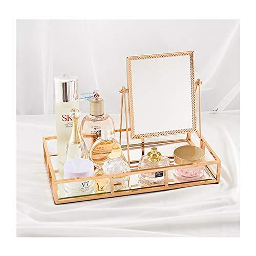 LBSC Espejo de maquillaje, desmontable y giratorio de 360 grados, espejo de metal, espejo cosmético hecho a mano, espejo de maquillaje dorado