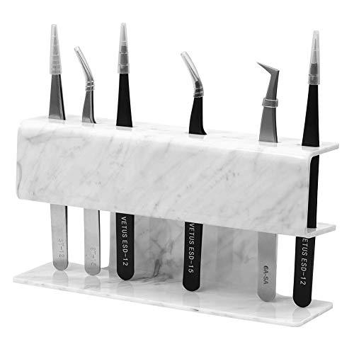 Pinzas de Soporte Para Extensiones de Pestañas - Patrón de Mármol - Accesorios para herramientas de maquillaje (Patrón de Mármol -8 ranuras)